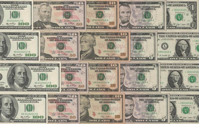 Dollars collection stock images