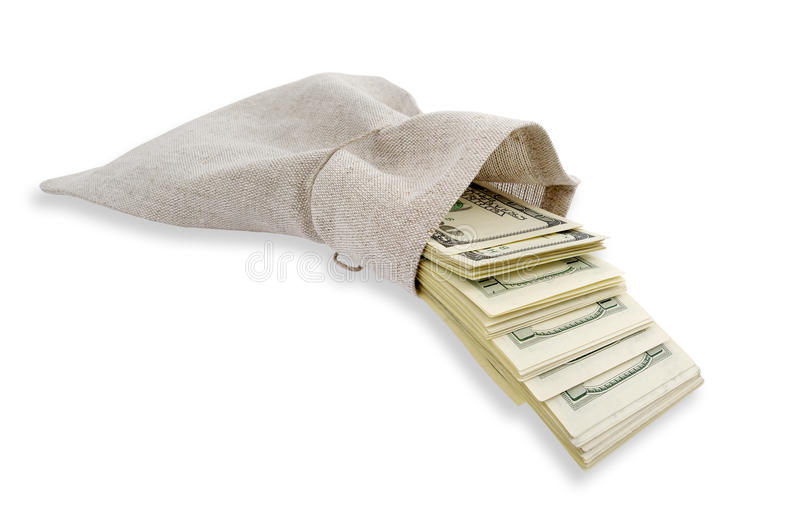 Dollars coming from the bag. royalty free stock photography