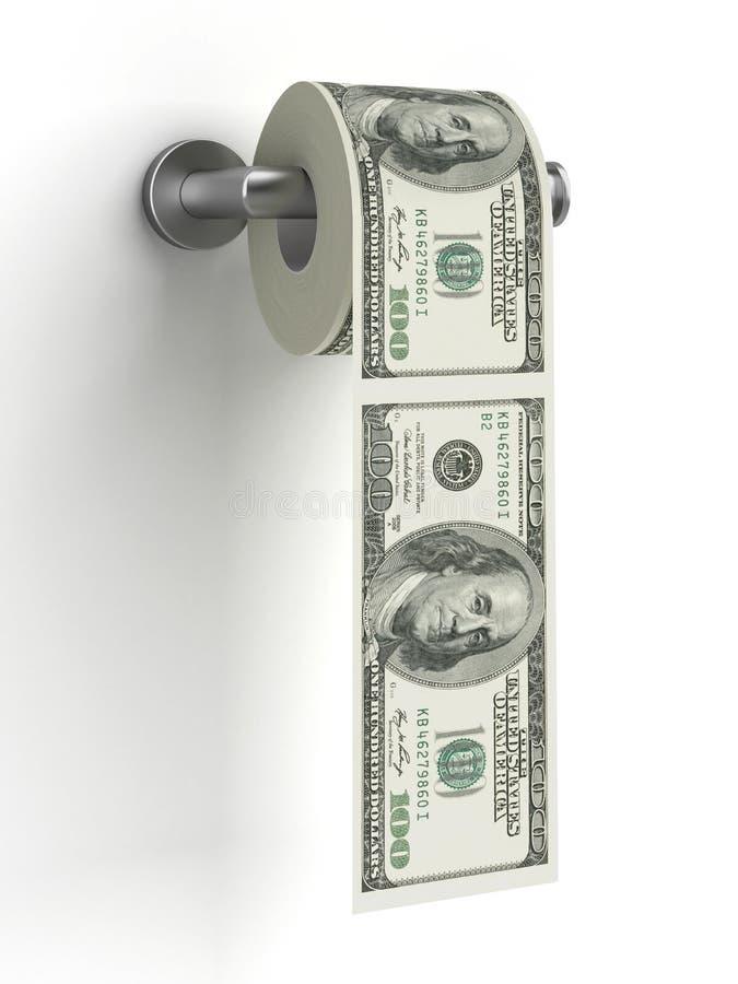 Dollars comme papier hygiénique photographie stock libre de droits