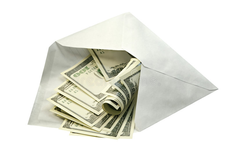 Dollars dans l'enveloppe photos libres de droits