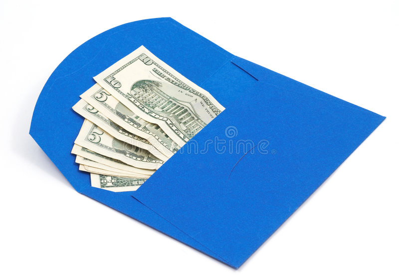 Dollars dans l'enveloppe bleue images libres de droits