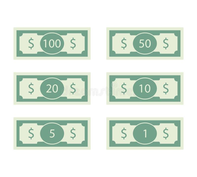 Dollars de billet de banque d'ensemble facture 100 et 50 illustration stock