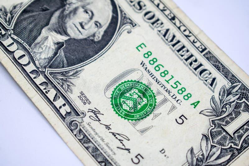 Dollars de concept de plan rapproché Dollars américains d'argent d'argent liquide Un dollar photo libre de droits