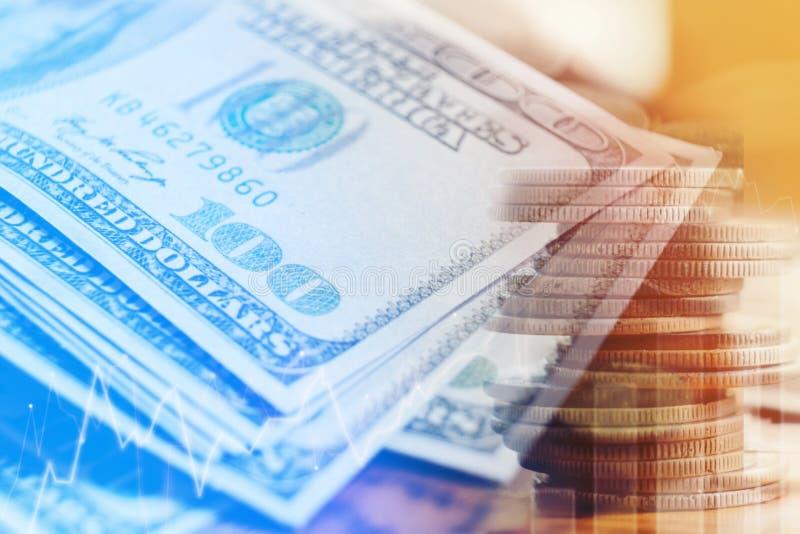 Dollars de concept de plan rapproché Cent finances d'argent d'argent liquide du dollar images stock