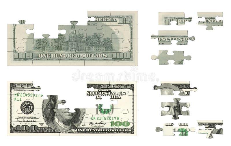 100 dollars de puzzle illustration libre de droits