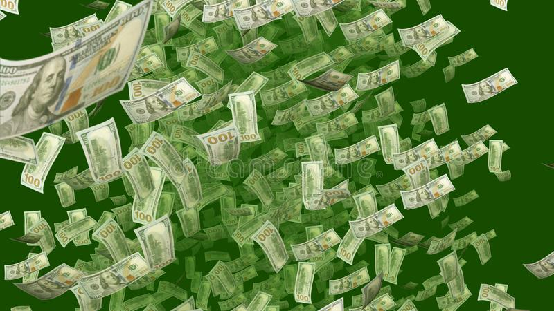 Dollars en baisse dans le contexte kaki et vert illustration stock