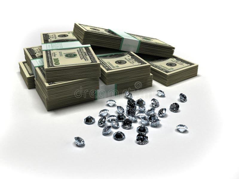 Dollars en diamanten vector illustratie