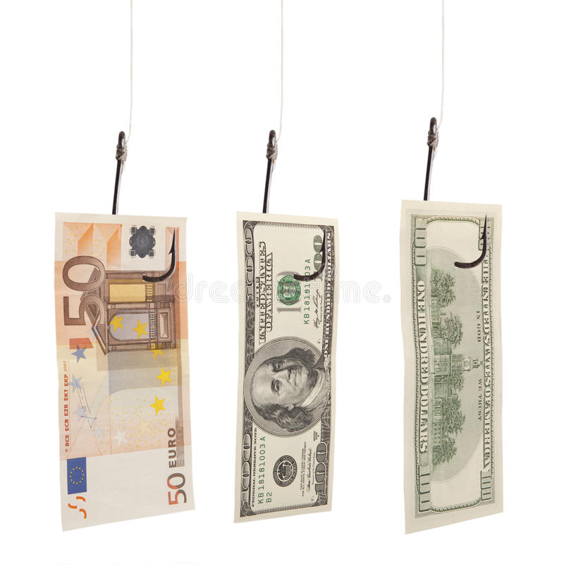 Dollars en euro bij de visserij van haak stock afbeelding