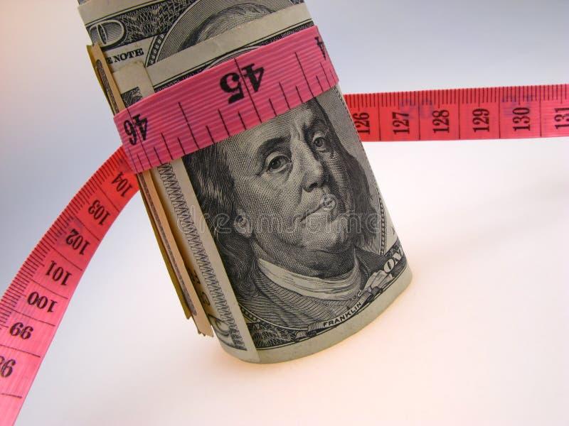 Dollars en maatregelenheerser royalty-vrije stock afbeelding