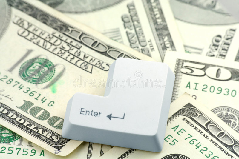 Download Dollars And A Enter Key Stock Image - Image: 1590511