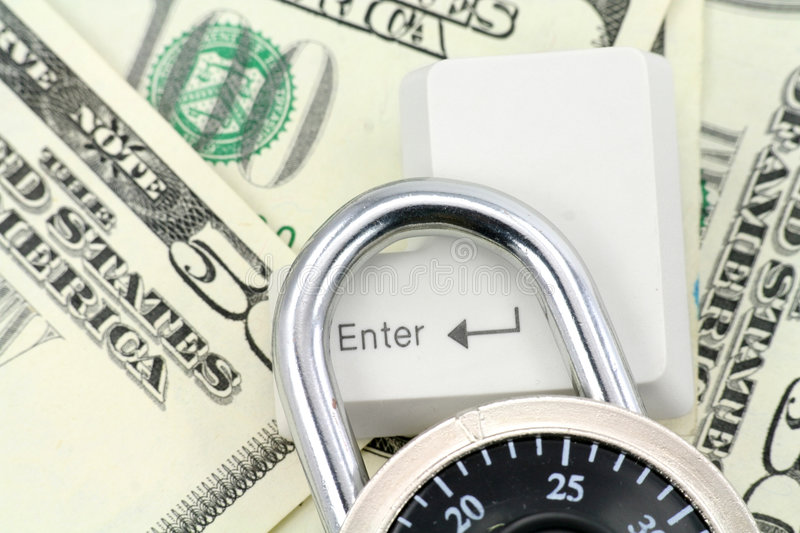 Dollars And A Enter Key Stock Photo
