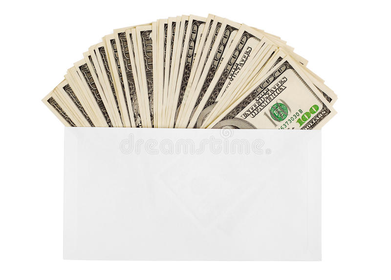 Dollars in an envelope. Dollars spread in an envelope on white background stock images