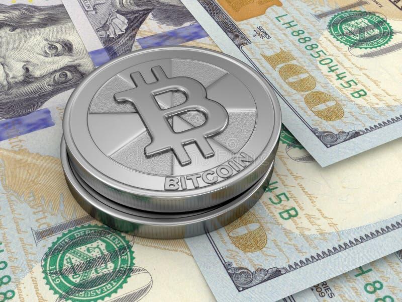 Dollars et Bitcoin illustration de vecteur