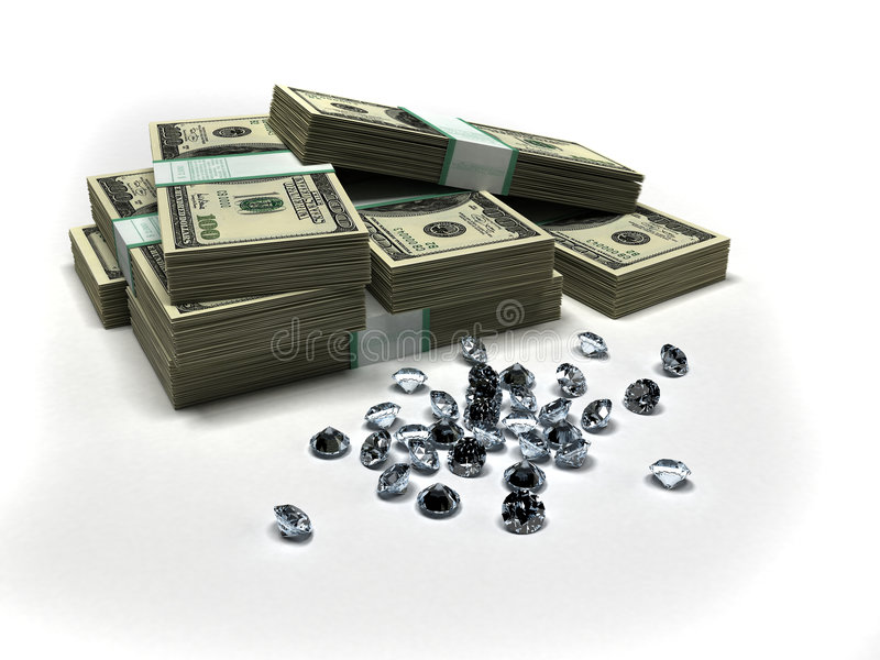 Dollars et diamants illustration de vecteur