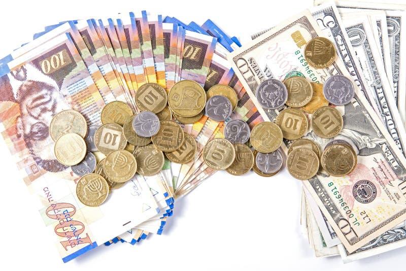 Dollars et shekels photographie stock libre de droits