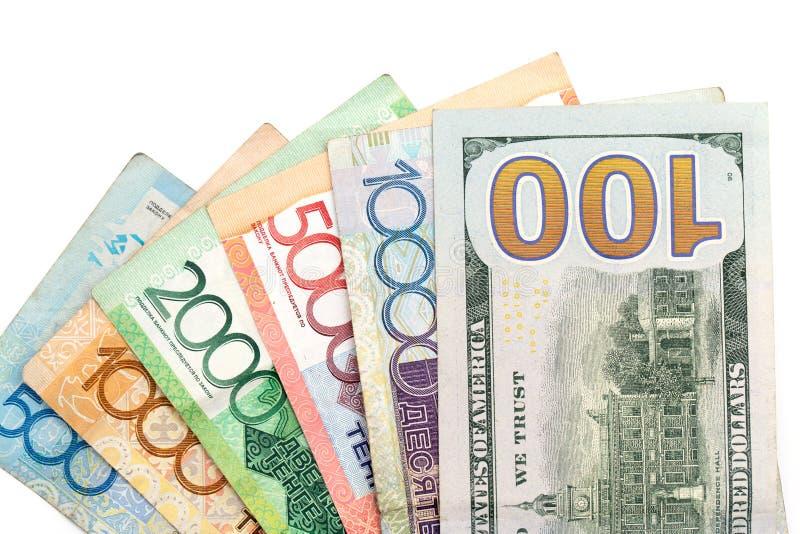 Dollars et tenge américains de Kazakhstan image stock