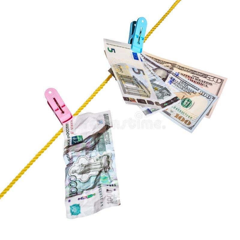 Dollars, euro en roebels stock afbeeldingen