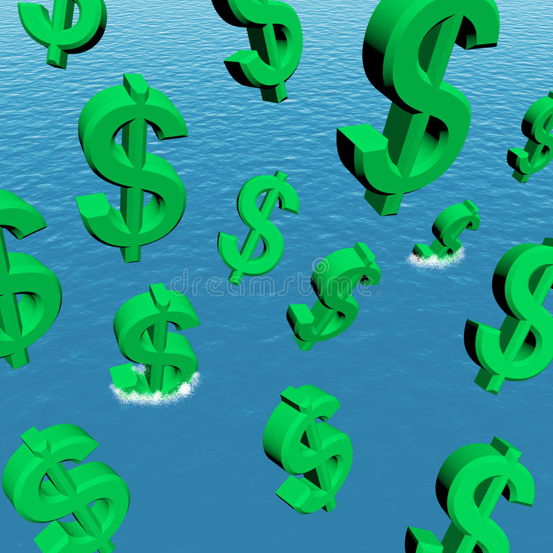 Download Dollars Falling In The Ocean Stock Illustration - Image: 23428059