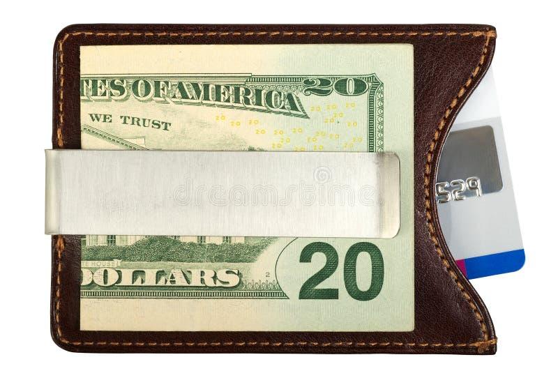 Dollars in geldklem en creditcard. royalty-vrije stock fotografie