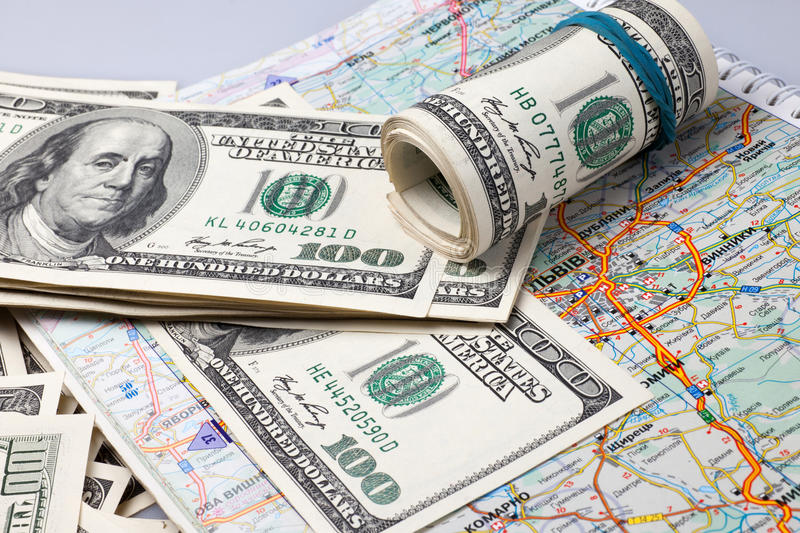 Dollars On A Geographical Map Of Ukraine Stock Illustration