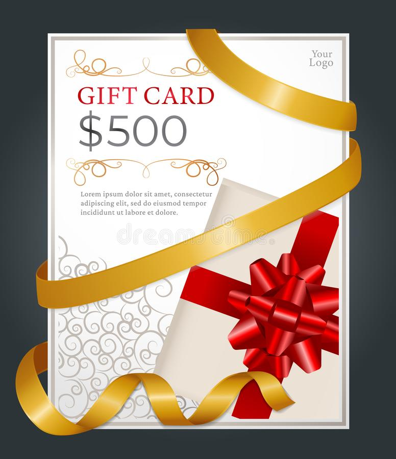 500 Dollars Gift Card, Certificate on Presents 皇族释放例证