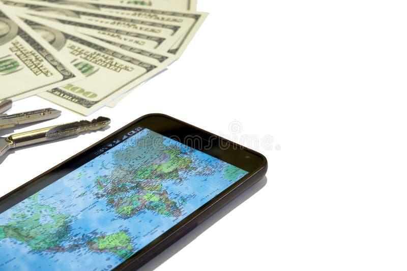 Dollars, glazen, telefoon en beurs, voorbereiding voor reis royalty-vrije stock foto