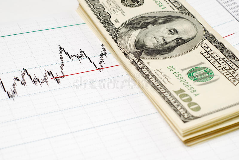 Dollars on graph. American dollars with graph, one hundres stock images