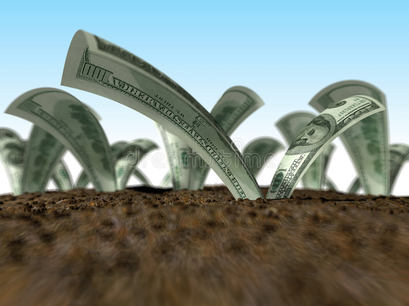 Dollars growing. Animated version available stock photos