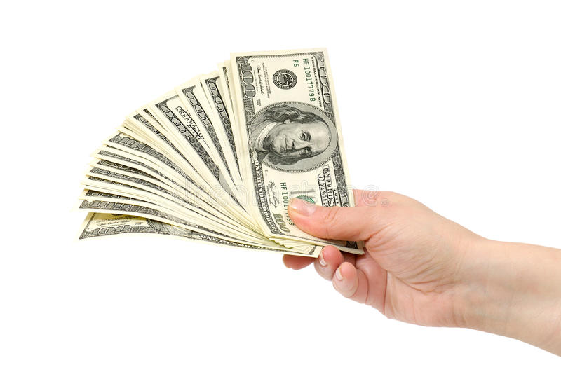 Dollars in hand stock image