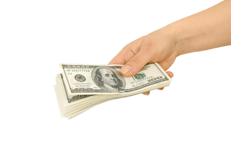 Dollars in hand. Isolated on a white background royalty free stock photos