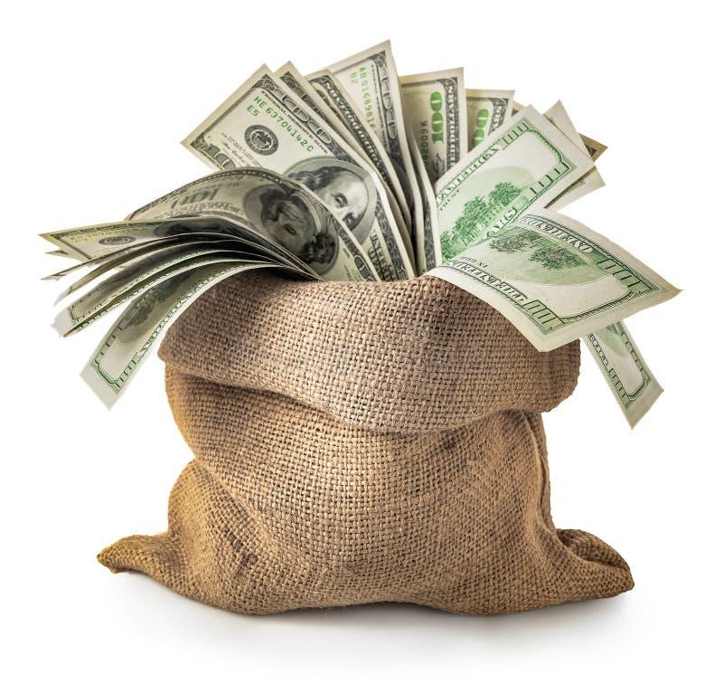 Dollars i en säck royaltyfri bild