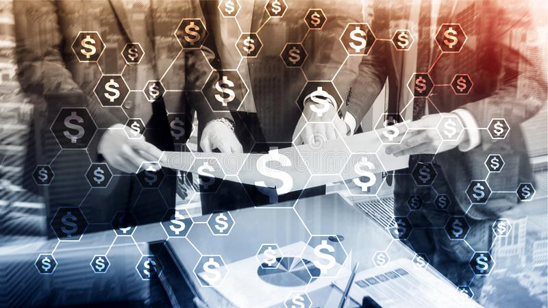 Dollars icons, money network structure. ICO, trading and investment. Crowdfunding royalty free stock photos