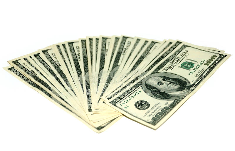 Download Dollars isolated on white stock photo. Image of green - 22379934