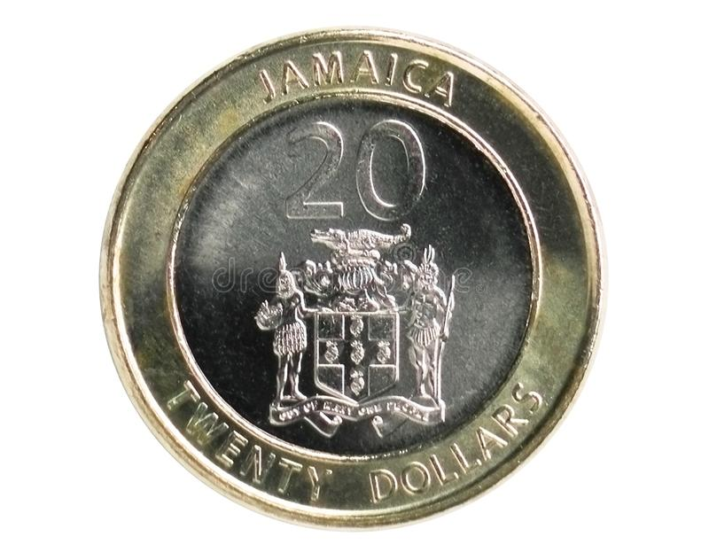20 Dollars Magnetic coin, 1969~Today - Dollar - Circulation serie, Bank of Jamaica. Obverse, issued on 2008. Isolated on white stock image