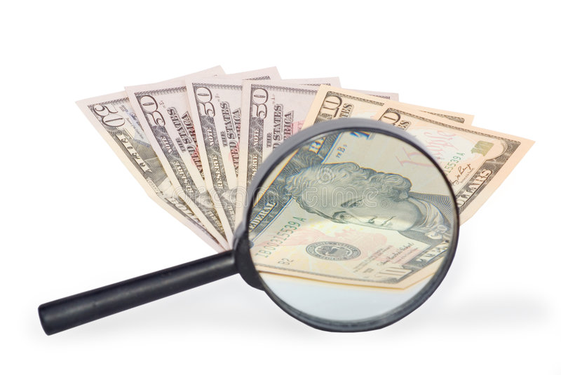 Download Dollars And Magnifying Glass Stock Image - Image: 9175093