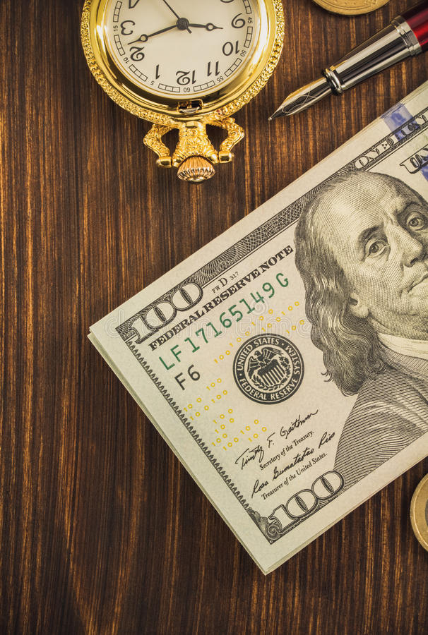 Dollars money banknotes on wood. En background stock photography