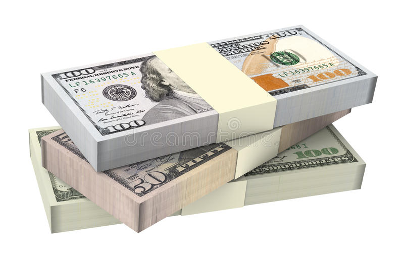 Dollars money isolated on white background. Computer generated 3D photo rendering vector illustration