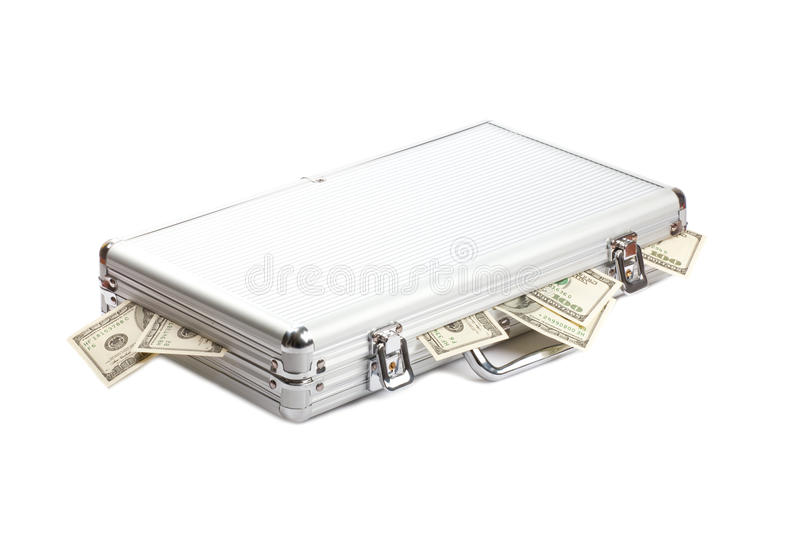 Dollars money in the metall suitcase. Isolated over white background royalty free stock images