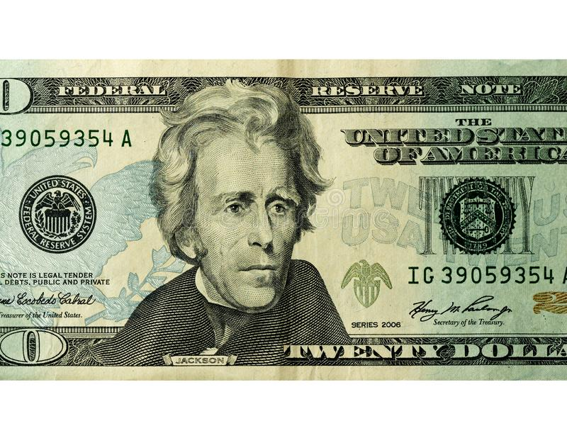 20 dollars money usa or american banknote isolated royalty free stock image