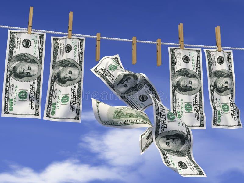 Dollars Op Een Kabel Stock Foto