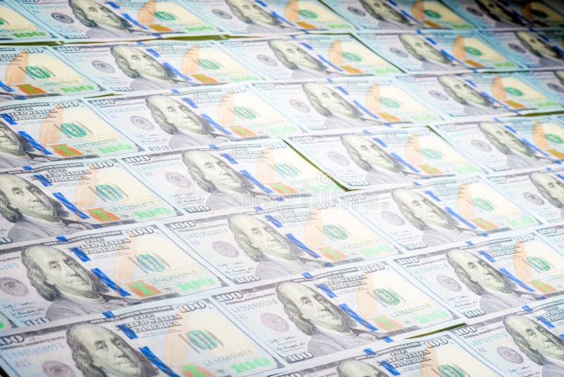 Dollars opgemaakte behangclose-up stock afbeelding