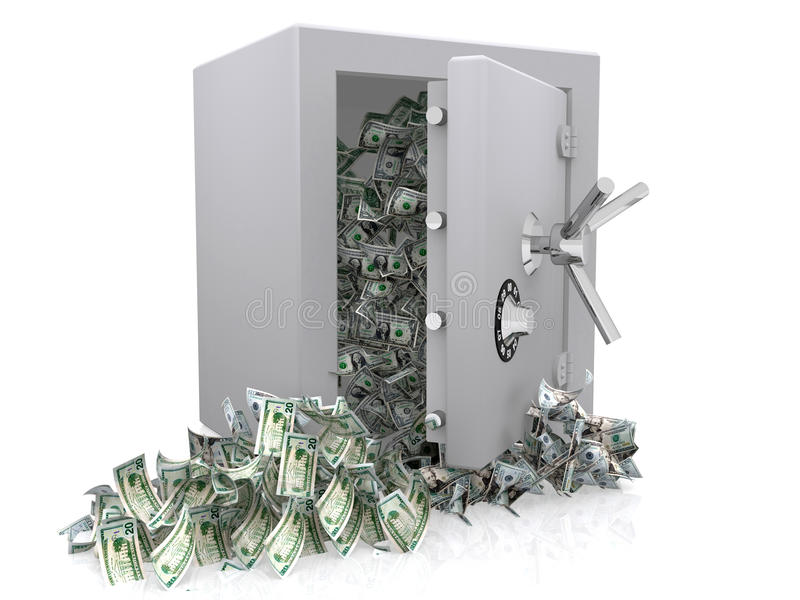 Download Dollars out of safe stock illustration. Image of strongbox - 16137631