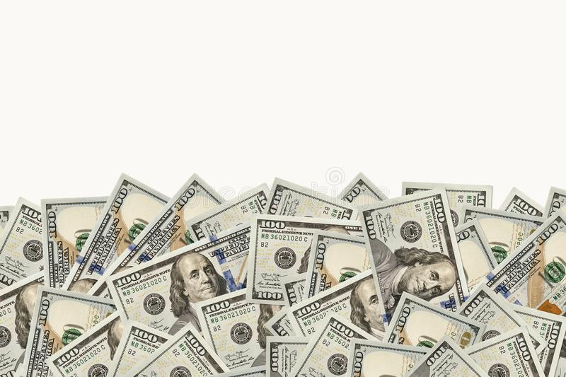 Frame of 100 dollars banknotes stock images