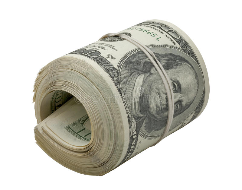 Dollars roll isolated on white stock photos
