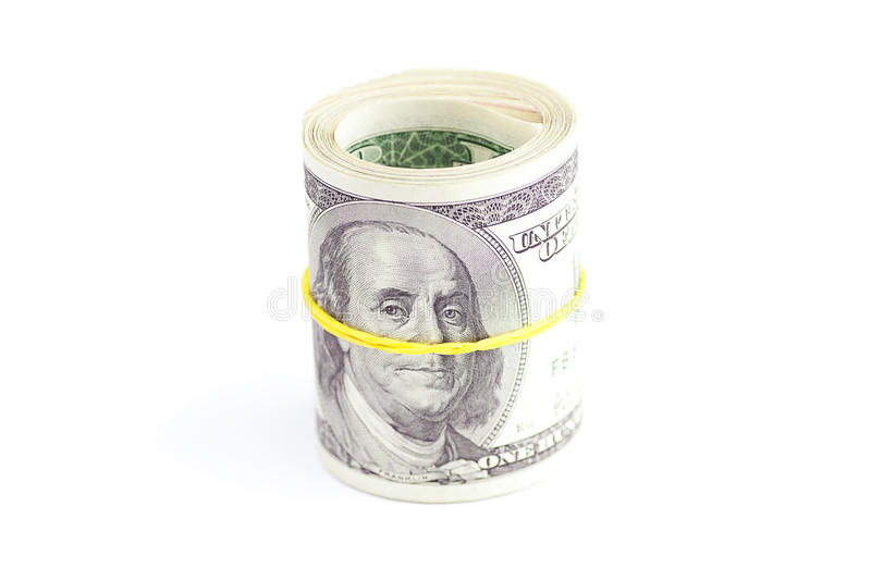 Dollars Rolled Into A Tube Stock Image
