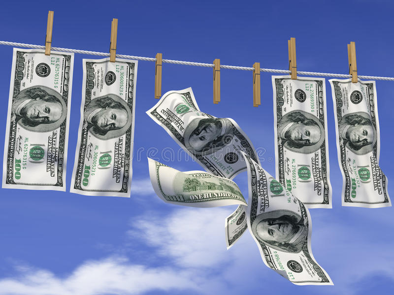 Dollars On A Rope Stock Photo