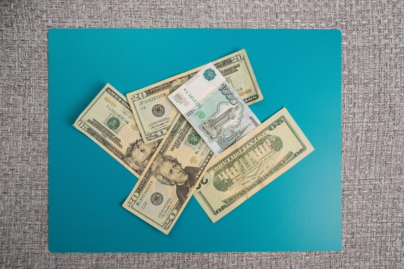 Russian and American money. Ruble and dollar bills. stock photo