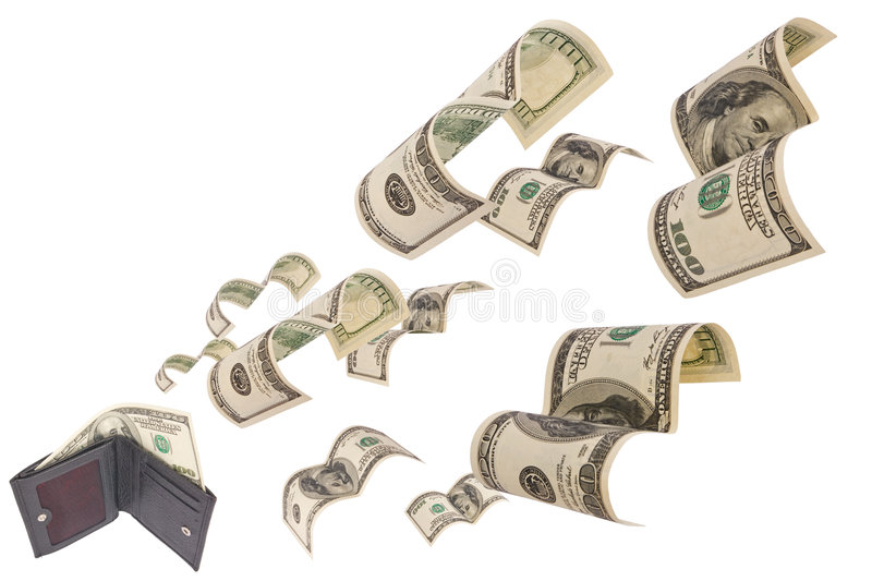 Dollars run away from wallet isolated royalty free stock photos
