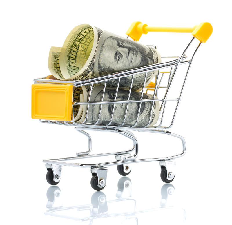 Dollars In The Shopping Cart Royalty Free Stock Photography