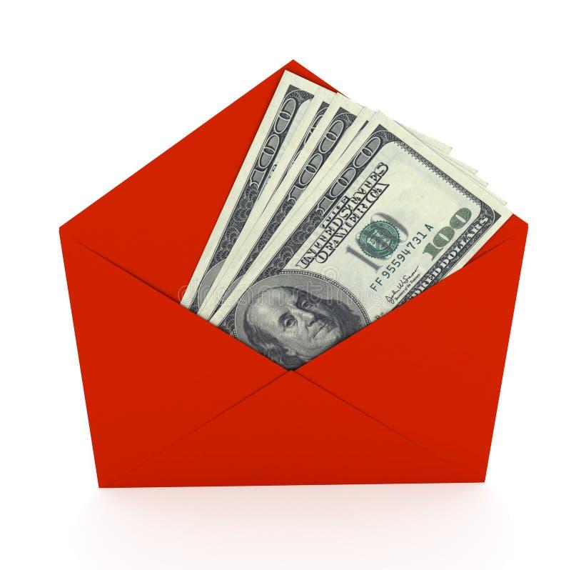 Dollars sign in envelope over white background stock illustration